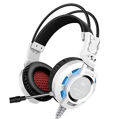 K6 căști cu fir cu căști dinamice pentru jocuri cu cască, pliabile cu microfon cu căști de control al volumului