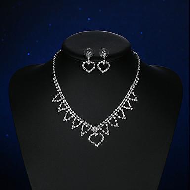 Pentru femei Cristal Ștras Cristal Argilă Inimă Set bijuterii - De Bază Inimă Argintiu Cercei Stud Lănțișor Pentru Nuntă Petrecere