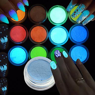 Art déco/Retro Mädchen & Junge Frauen Leuchtet im Dunkeln 3-D Blitz Bastelmaterial Puder Nagel-Salon-Werkzeug Armauflage