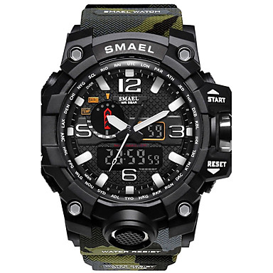 cheap Men's Watches-SMAEL Men's Sport Watch Digital Watch Hunting Watch Silicone Black / Red 50 m Water Resistant / Waterproof Stopwatch Noctilucent Analog - Digital Red / Blue Khaki Camouflage Green Two Years Battery