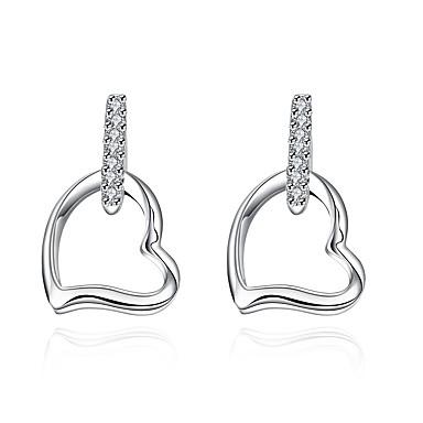 Damen Herz versilbert Tropfen-Ohrringe - nette Art Herz Für Hochzeit Party Alltag Normal