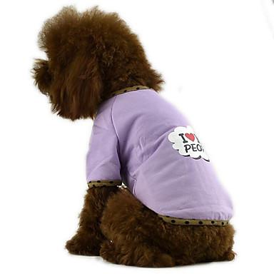 كلب T-skjorte ملابس الكلاب متنفس كاجوال/يومي حرف وعدد أرجواني فوشيا أزرق كوستيوم للحيوانات الأليفة