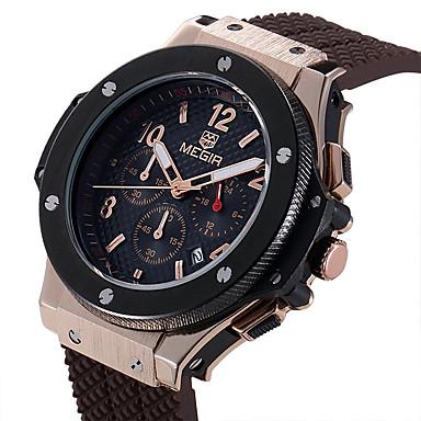 MEGIR Heren Sporthorloge Modieus horloge Polshorloge Unieke creatieve horloge Vrijetijdshorloge Horloge Hout Kwarts Kalender Silicone Band