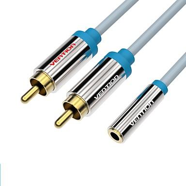 VENTION 3.5mm audio Jack Cablu Adaptor, 3.5mm audio Jack to 2RCA Cablu Adaptor Bărbați-Damă Placată cu aur 3.0M (10ft)