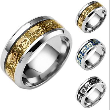 Bărbați Band Ring - Craniu 6 / 7 / 8 Auriu / Negru / Albastru Închis Pentru Zilnic