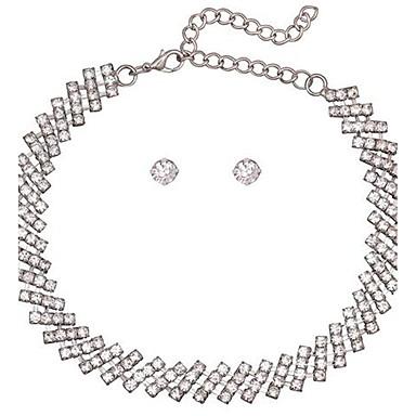billige Mode Halskæde-Dame Kort halskæde Rhinsten Geometrisk form Legering Sexet minimalistisk stil Smykker Til Bryllup Fest Formel