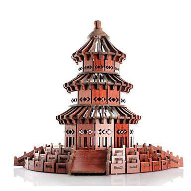 3D-puzzels Legpuzzel Houten modellen Beroemd gebouw Huis Puinen Natuurlijk Hout Unisex Geschenk