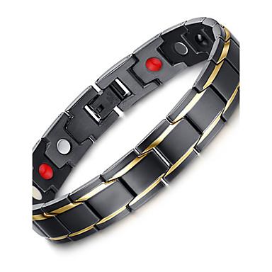 Herrn Edelstahl Luxus Böhmische Ketten- & Glieder-Armbänder - Luxus Retro Böhmische Kreisförmig Kreisform Geometrische Form Schwarz