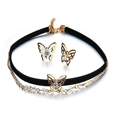 Dames Synthetische Diamant Strikvorm Sieraden set - Modieus Strikvorm Goud Oorknopjes / Hangertjes ketting Voor Feest / Lahja / Dagelijks