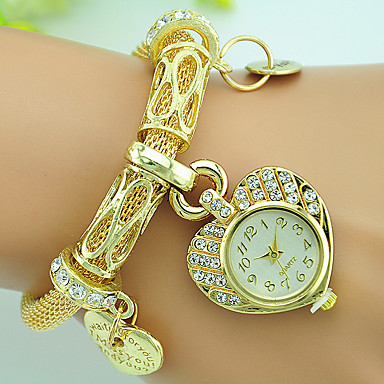 Dames Modieus horloge Armbandhorloge Kwarts Strass Legering Band Heart Shape Zilver Goud