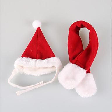 חתול כלב בנדנות וכובעים בגדים לכלבים אחיד אדום כותנה תחפושות עבור חיות מחמד מסיבה יום יומי\קז'ואל קוספליי ספורט חג מולד