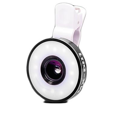 Mobiele telefoonlens Fish-eye lens Groothoeklens Macrolens Aluminium Lens met LED-lamp