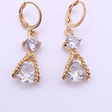 Жен. Синтетический алмаз Серьги-слезки - На заказ, Мода Золотой Назначение Свадьба / Для вечеринок / День рождения