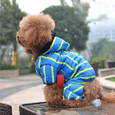 Hund Mäntel Overall Daunenjacken Hundekleidung Streifen Blau Rosa Feder Baumwolle Daune Kostüm Für Haustiere Herrn Damen Lässig /