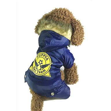Hund Mäntel Overall Hundekleidung Warm warm halten Buchstabe & Nummer Rot Blau Kostüm Für Haustiere
