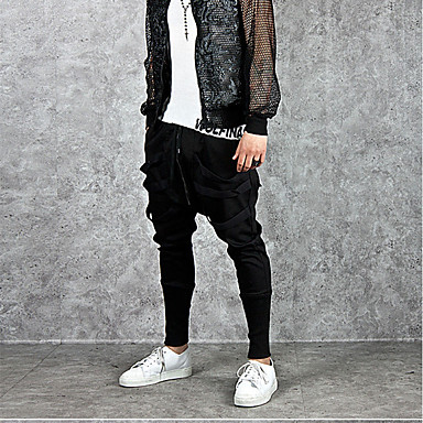 Недорогие Мужские брюки, шорты и т.д.-Муж. Активный / Уличный стиль Спорт выходные Свободный силуэт Гарем / Штаны Брюки - Однотонный Черный XL XXL XXXL