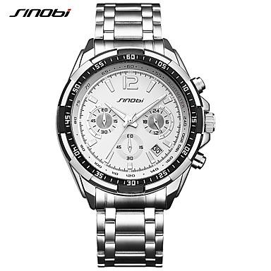 SINOBI Pánské Sportovní hodinky Náramkové hodinky Křemenný Kov Stříbro 30 m  Kalendář Chronograf Odolný vůči nárazu 2ed499eb00