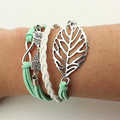 Men's / Women's Wrap Bracelet / Leather Bracelet - Leather Leaf, Owl Vintage, Bohemian, Punk Bracelet Green For Christmas / Wedding / Party