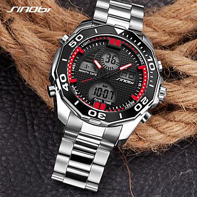 Недорогие Часы на металлическом ремешке-SINOBI Муж. Спортивные часы Армейские часы электронные часы Японский Цифровой Нержавеющая сталь Серебристый металл 30 m Будильник Календарь LED Аналого-цифровые Роскошь На каждый день минималист Cool