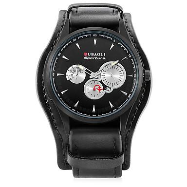 JUBAOLI Bărbați Unic Creative ceas Ceas de Mână Ceas La Modă Chineză Quartz Calendar Mare Dial Aliaj Piele Bandă Casual Cool Negru Maro