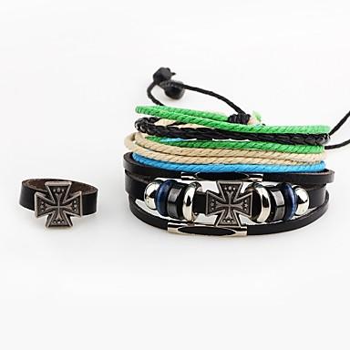 Bărbați Ring Bracelets La modă Σταυρός Piele Aliaj Cross Shape Bijuterii Pentru Casual Ieșire
