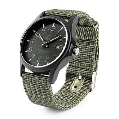זול שעוני גברים-בגדי ריקוד גברים שעונים צבאיים שעון שדה ציד קווארץ שחור / כחול לוח שנה אנלוגי יום יומי אריסטו - ירוק כחול לבן שחור שנה אחת חיי סוללה / מתכת אל חלד / SSUO 377