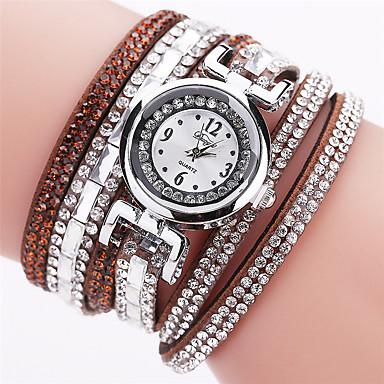 Pentru femei Simulat Diamant Ceas Ceas Brățară Ceas La Modă Chineză Quartz imitație de diamant PU Bandă Casual Boem Elegant Negru Alb