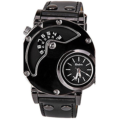 cheap Men's Watches-Oulm Men's Sport Watch Quartz Leather Black Casual Watch Cool Analog - Digital Classic Casual Fashion Dress Watch Unique Creative - Black One Year Battery Life / SSUO LR626