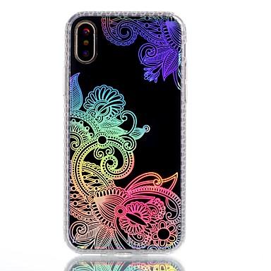 Pentru iPhone X iPhone 8 Plus Carcase Huse Placare IMD Model Carcasă Spate Maska dantelă de imprimare Floare Moale TPU pentru Apple
