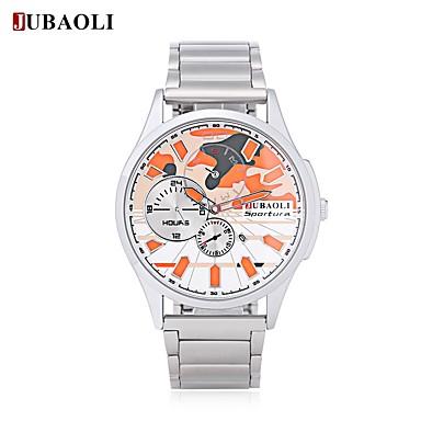 JUBAOLI Bărbați Quartz Ceas de Mână Chineză Calendar Mare Dial Oțel inoxidabil Aliaj Bandă Modă Cool Alb