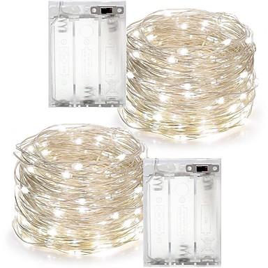 2pcs 10m 100l 3aaa 4.5v baterii alimentat cu ornamente impermeabil condus de sârmă de cupru lumini șir pentru partid de nunta festival