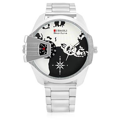 JUBAOLI Bărbați Quartz Ceas de Mână Ceas Sport Chineză Calendar Mare Dial Zone Duale de Timp  Oțel inoxidabil Bandă Casual Modă Cool