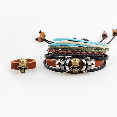 Bărbați Ring Bracelets Bratari din piele Personalizat Hip-Hop Piele  Aliaj Craniu Bijuterii Ieșire Stradă Costum de bijuterii