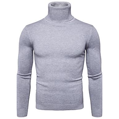 billige Herregensere og -cardigans-Herre Daglig Ensfarget Langermet Normal Pullover, Rullekrage Høst / Vinter Navyblå / Gul / Lyseblå L / XL / XXL