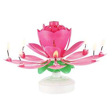 ευτυχισμένα κεριά γενεθλίων ηλεκτρικά οδήγησε για κέικ μουσική τέχνη λουλουδιών λουλουδιών περιστρεφόμενα φώτα διακόσμηση λαμπτήρα κόμμα