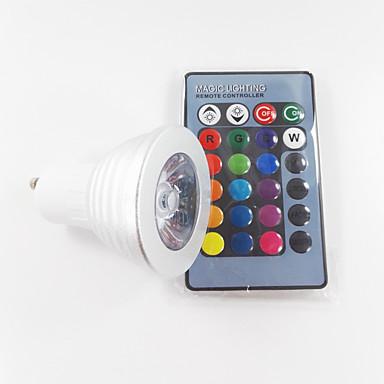 300 lm GU10 Lâmpadas de Foco de LED MR16 1 leds LED de Alta Potência Regulável Decorativa Controle Remoto RGB AC 100-240V
