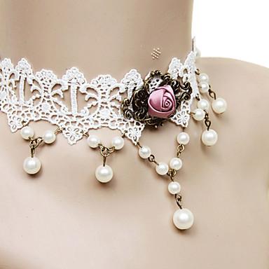 Mücevher Klasik/Geleneksel Lolita Kolye Prenses Kadın Beyaz Lolita Aksesuarları Dantel Kolye Dantel alaşım