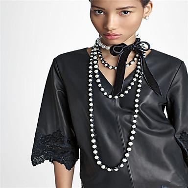 Kadın's İmitasyon İnci Gerdanlıklar - İmitasyon İnci Kadife Kişiselleştirilmiş Euramerican Moda Bowknot Shape Kolyeler Uyumluluk Özel