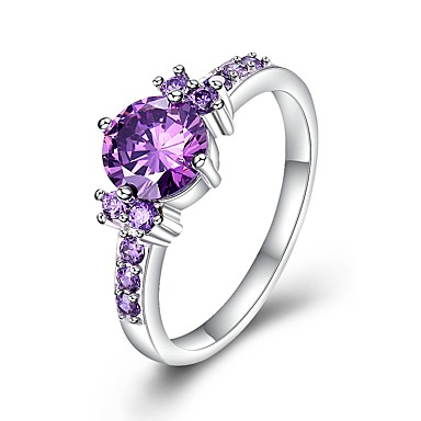 Women's AAA Cubic Zirconia Cluster Engagement Ring - Cubic Zirconia, Copper Luxury, Classic 6 / 7 / 8 / 9 Purple For Wedding Party