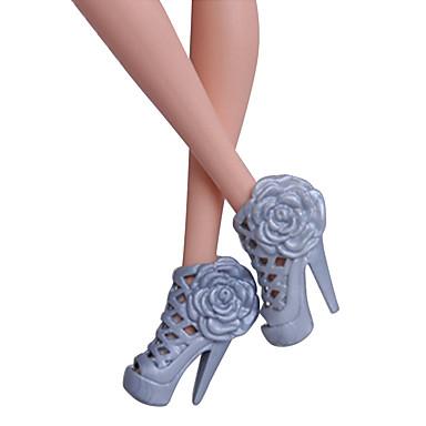Prenses Ayakkabılar İçin Barbie Bebek Siyah PVC Ayakkabılar İçin Kız Oyuncak bebek