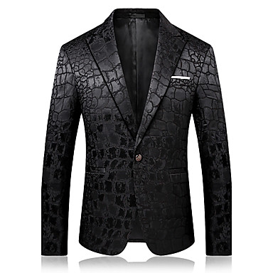 8595aa812 رجالي أسود سترة راقي لون سادة شق الصدر علوي مناسب للحفلات / كم طويل / الخريف