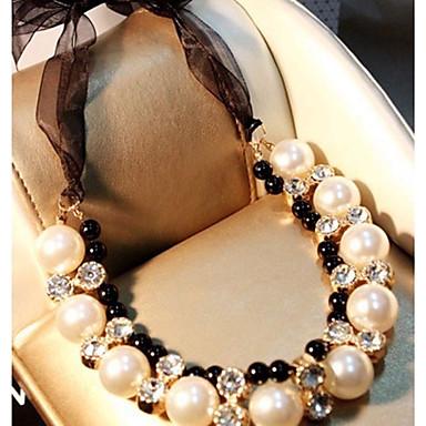 billige Mode Halskæde-Dame Kort halskæde Imiteret Perle Klassisk Yndig Hvid Halskæder Smykker Til Bryllup Stadie