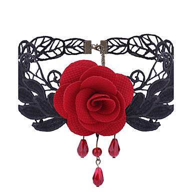 cheap Necklaces-Women's Choker Necklace Floral / Botanicals Flower Ladies Gothic Sweet Elegant Lace Alloy Black Red Necklace Jewelry For Daily Casual
