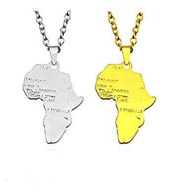 billige Mode Halskæde-Herre Dame Halskædevedhæng Vedhæng Alfabetformet Klassisk Etnisk Mode afrikansk Guld Sølv Halskæder Smykker Til Natklub Bar