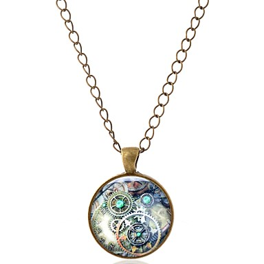 billige Mode Halskæde-Herre Dame geometrisk Halskædevedhæng Europæisk Etnisk Mode Sølv Bronze Halskæder Smykker 1 Til I-byen-tøj Valentine