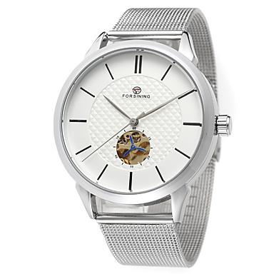 levne Pánské-FORSINING Pánské Náramkové hodinky Automatické natahování Nerez 30 m Cool Analogové Na běžné nošení Módní - Černá Černá a zlatá Bílá / Zlatá