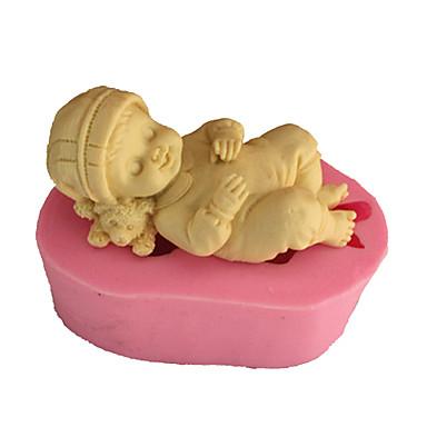 Molde Bebê de sono Torta Biscoito Bolo Silicone Amiga-do-Ambiente Alta qualidade 3D