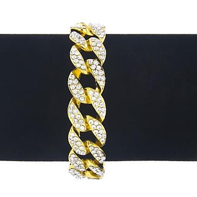 voordelige Heren Armband-Heren Dames Armbanden met ketting en sluiting Armband meetkundig Gedraaid Klassiek Vintage Modieus Hip-hop Oversized Legering Armband sieraden Goud Voor Club Bar