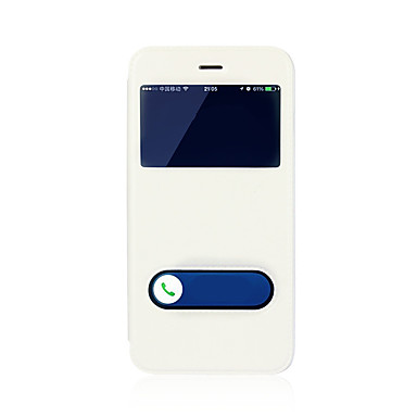 voordelige iPhone 6 Plus hoesjes-hoesje Voor Apple iPhone 8 Plus / iPhone 8 / iPhone 7 Plus met standaard / met venster / Flip Volledig hoesje Effen Hard PU-nahka