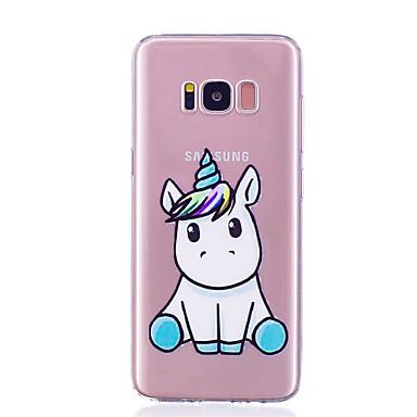 voordelige Galaxy S-serie hoesjes / covers-hoesje Voor Samsung Galaxy S8 Plus / S8 / S7 edge Transparant / Patroon Achterkant Eenhoorn Zacht TPU